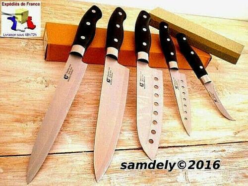 kuchenhelfer lot de 5 couteaux de cuisine japonais santoku sushi pierre a aiguiser offerte mobel wohnen blowmind com br