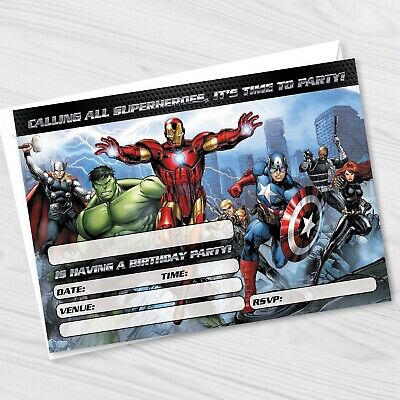 avengers birthday party invitations marvel avengers kids party invites ebay