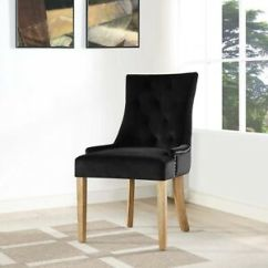 Upholstered Chair With Nailhead Trim Bone Collector Tufted Black Velvet Parsons Dining Side Image Is Loading