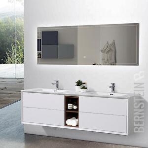 Badmbel Set Doppelwaschtisch Waschtisch Wei matt Innenregal Rosenholz 190 cm  eBay