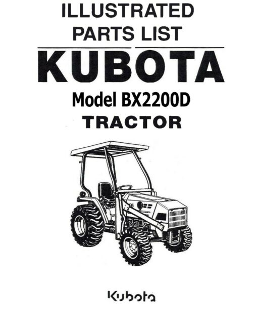 Kubota Bx25dlb-1 Tractor Illustrated Parts Manual for sale