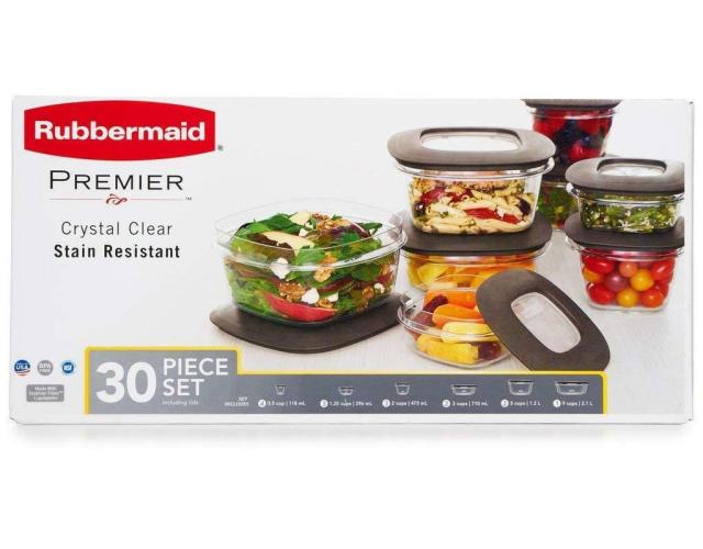 Rubbermaid Premier Food Storage Containers 30-Piece Set Clear Base Gry Lid - NEW 2