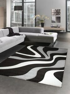 details sur designer tapis carpette du salon vagues blanc gris noir