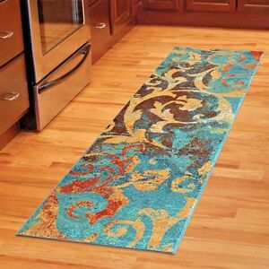 kitchen runner rugs lowes copper sink details about carpet runners area rug modern colorful blue image is loading