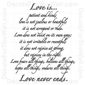 Love is Patient and Kind Not Jealous Never Ends Vinyl Wall