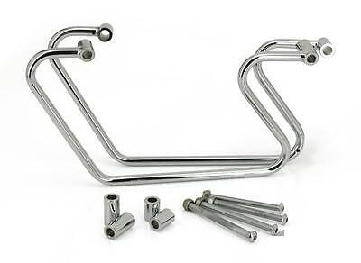 Chrome Side Supports Braces Bags Harley Dyna Fat Bob 2008