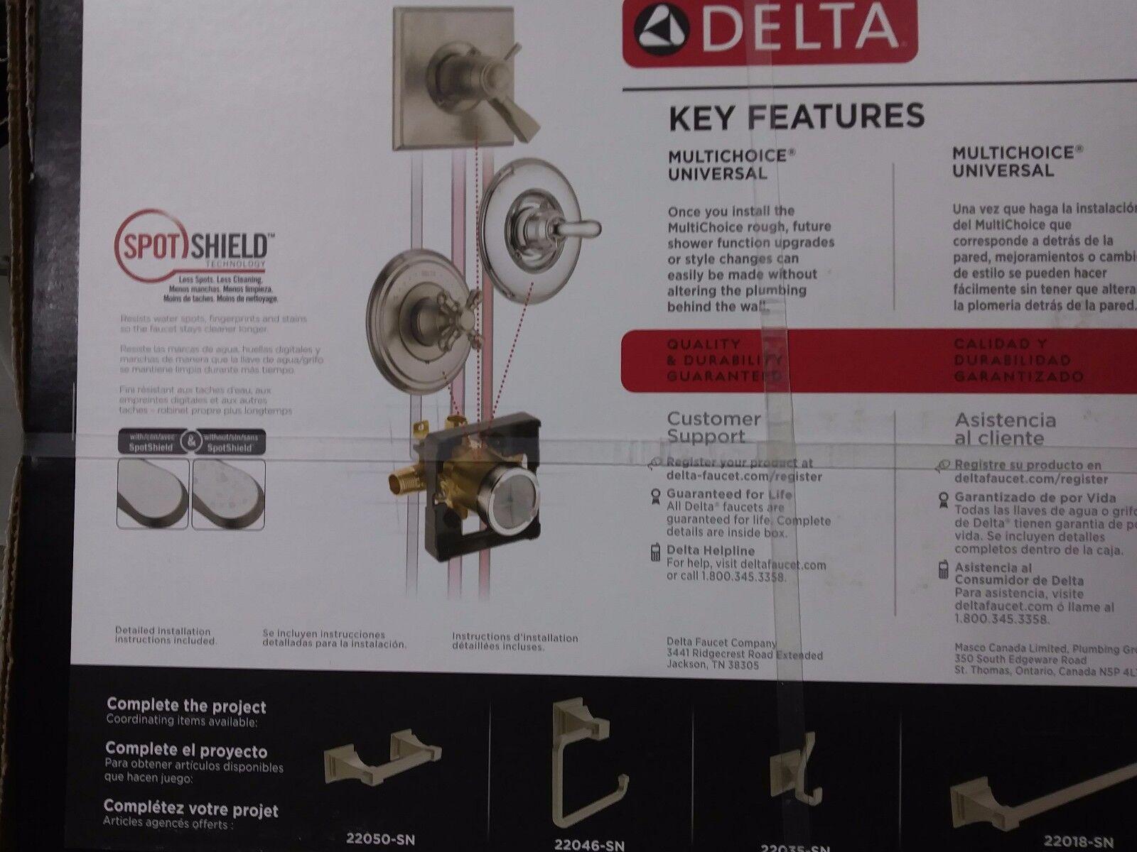 delta 144718 sp lakewood monitor 14 series tub shower trim brushed nickel
