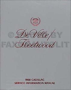 1988 Cadillac Deville and Fleetwood Repair Shop Manual 88