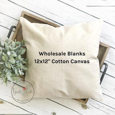 12x12 wholesale blank 10 oz cotton canvas throw pillow cover white or natural ebay