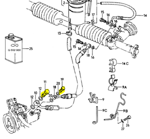 AUDI 100 200 V8 1989-94 BANJO BOLT & HARDWARE FOR POWER