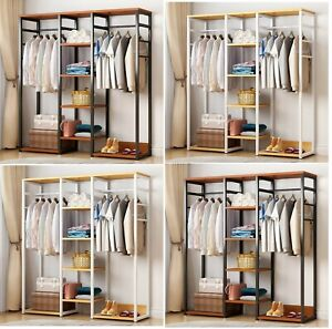 details about bedroom wooden steel wardrobe cupboard clothes racks shelves storage organiser
