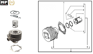 Piston cylinder kit piaggio vespa cosa px lml vespa star