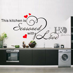 Stickers Decals Quote Kitchen Heart Home Dining Room Large