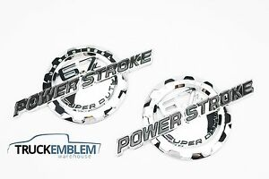 2 NEW CHROME FORD CUSTOM 6.7L F250 F350 POWERSTROKE BADGES