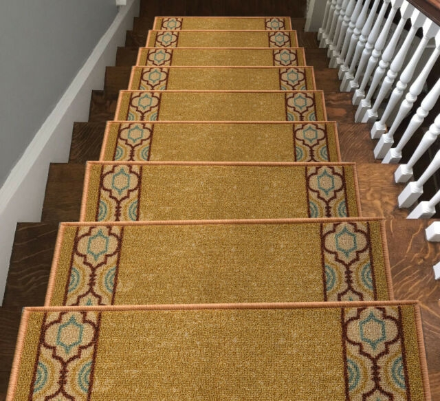 5 7Pcs Staircase Home Hotel Carpet Stair Mats Rugs Pads Stair | Stairs With Carpet Treads | Oak | Semi Circle | Outdoor Carpet | Laminate | Turquoise