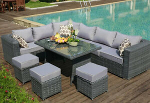 garden corner sofa with dining table circle banquette settee lobby yakoe papaver 9 seater rattan furniture patio image is loading