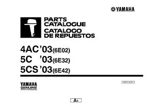 Yamaha Outboard Engine Parts Manual Book 2003 4AC (6E02