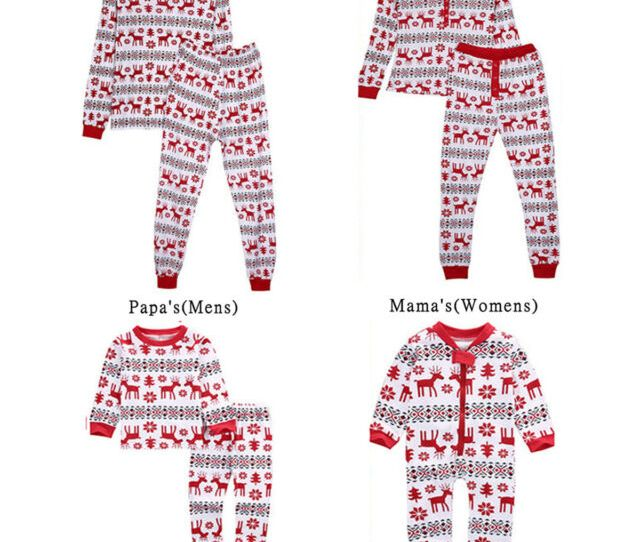 Family Matching Christmas Deer Pajamas Pjs Set Men Women Baby Kids Sleepwear Lot