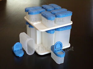 details about tupperware modular mates spice carousel shaker containers vtg country true blue