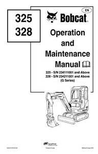 Bobcat 325 328 Excavator Operation and Maintenance Manual