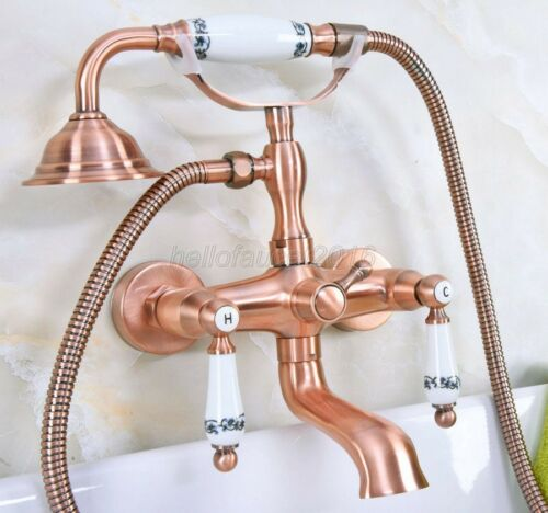 antique red copper clawfoot bathtub tub faucet w hand shower wall mount lna329 plumbing fixtures kitchen faucets