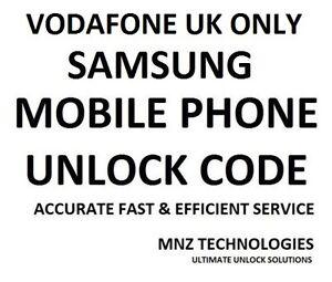 Vodafone UK Unlock Code Samsung Galaxy S7 Edge S6 Edge S5