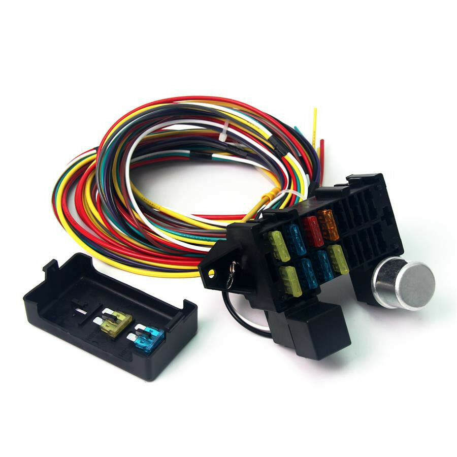 medium resolution of 12v 10 circuit basic wire harness fuse box street hot rat rod wiring car truck