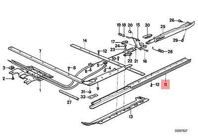 Genuine BMW E24 Coupe Sunroof Guide Rail Right OEM