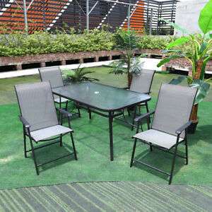 details about garden patio table 4 6 chairs outdoor seating furniture set with parasol hole