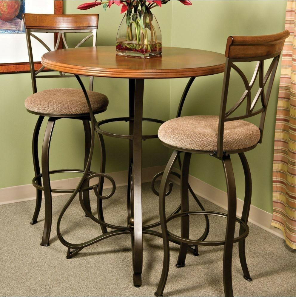 Pub Table Bar Counter Height Cherry Wood Bronze Metal