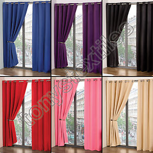 RING TOP THERMAL BLACKOUT PAIR EYELET READY MADE CURTAINS BLACK