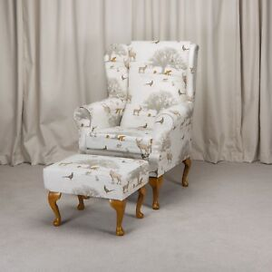 chair and matching stool used banquet tables chairs high back wing armchair small foot pouffe image is loading