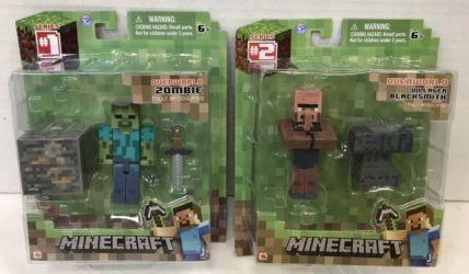 overworld villager blacksmith zombie minecraft figures lot card