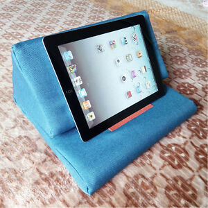 Plush Tablet Gray iPad Holder Wedge Pillows Angled Cushion