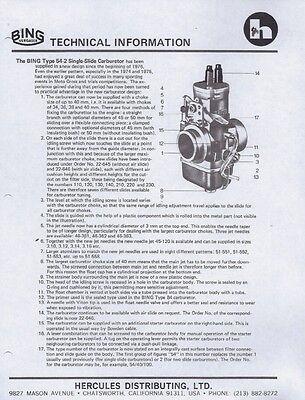 1974-1982 Bing Type 54-2 & 84 carburetor parts list and