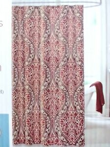 details about fabric shower curtain brown tan burgundy scroll moroccan style