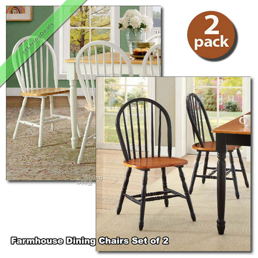 Country Kitchen Chairs Dining Room Chairs Set Of 2 Farmhouse Wood Country Kitchen Windsor Black White Ebay
