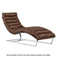 Leather Chaise Lounge Chair Mid Century Modern Lounger