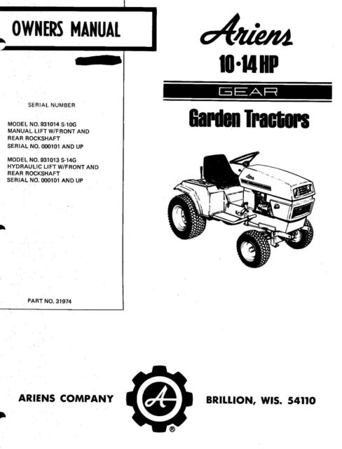 Ariens GEAR Garden Tractor 10HP 14HP Owners Maintenance