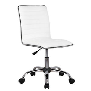 white leather swivel desk chair cover rentals in kissimmee fl low back armless ribbed designer task computer image is loading