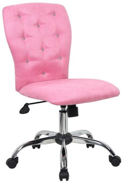 armless chair office recliner patio super soft pink microfiber sparkle bling home desk computer