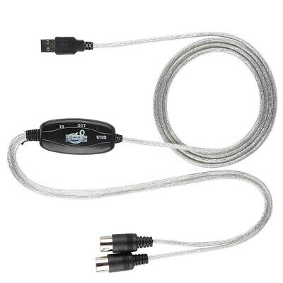 USB IN-OUT MIDI Interface Cord Converter to Music Create