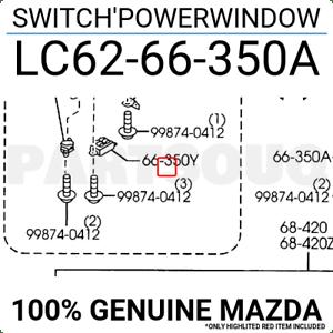 LC6266350A Genuine Mazda SWITCH POWERWINDOW LC62-66-350A