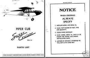 Piper PA-12 Super Cruiser service & parts archive manuals