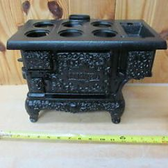 Cast Iron Kitchen Stove Round Glass Table Sets Antique Large Toy Or Salesman Sample Image Is Loading