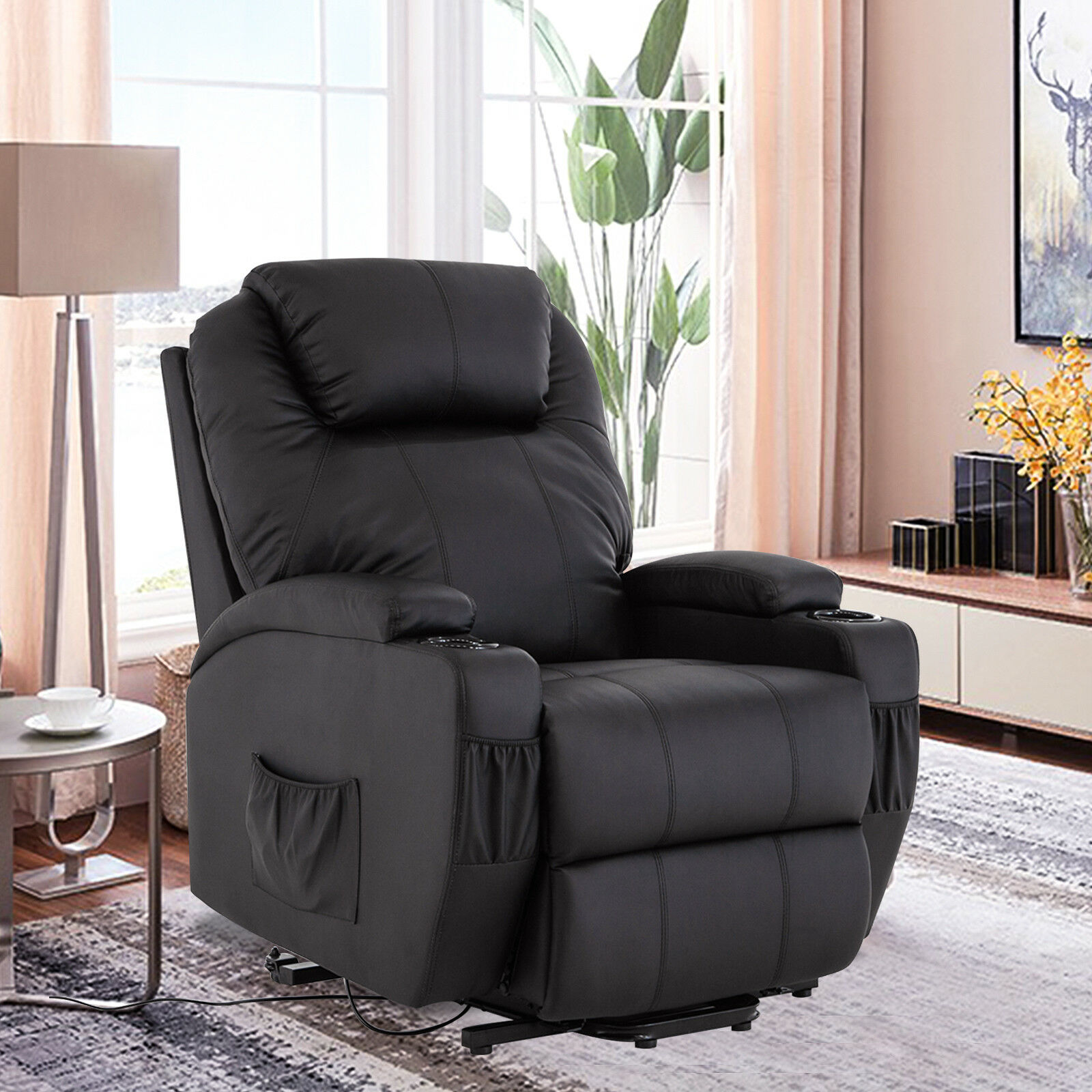 Wall Hugger Lift Chair Power Lift Real Leather Recliner Chair Wall Hugger Lounge Seat Black