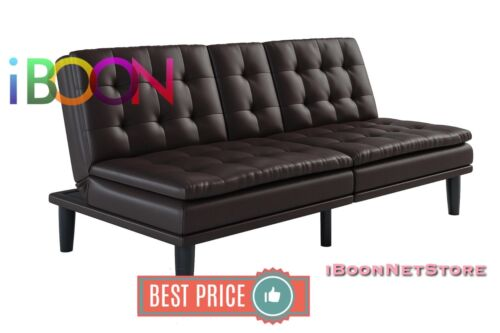 memory foam faux leather futon sofa bed couch cup holder pillow top wood brown