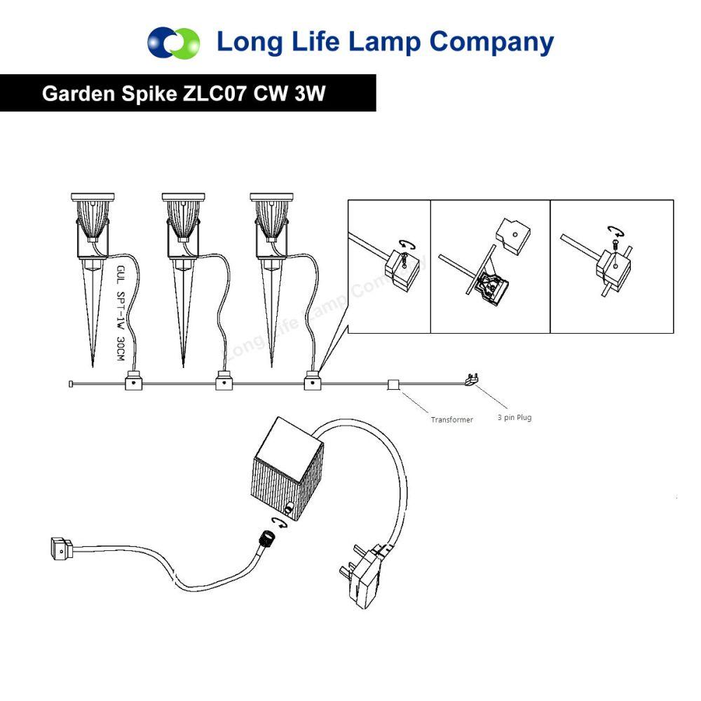 medium resolution of led garden spike light 12v 3w led spike easy install various colour temperature