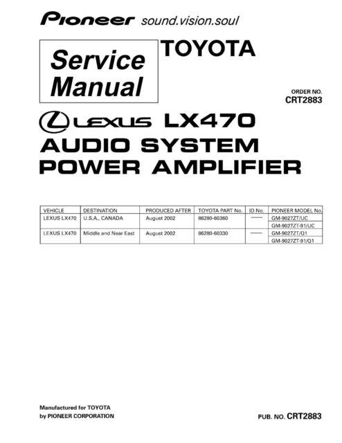 Service Manual Manual for Pioneer GM-9027 Audio Lexus LX