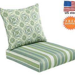 Garden Chair Cushions Slipcovers Nz Bossima Indoor And Outdoor Cushion Comfortable Deep Seat Design Patio High Back Pad Set Striped Damask